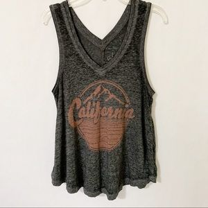 California Burn Out Graphic Sleeveless Tank Top S